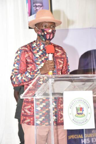 Deputy Governor, Bayelsa State, Senator Lawrence Ewhrudjakpo delivering his Welcome Address